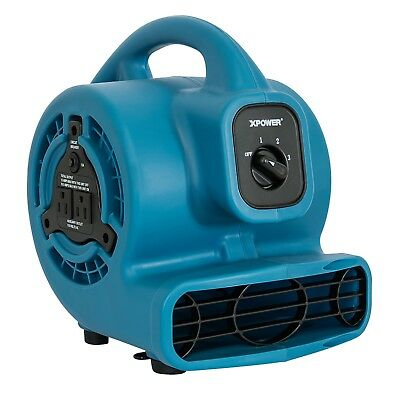 XPOWER P-80A 1/8 HP, 475 CFM, 3 Speed Mini Air Mover Dryer Fan w Built-in Outlet