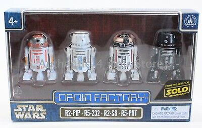 NEW 2018 Disney Star Wars Solo Droid Factory Set of 4 R2-F1P R5-232 R2-S8 R5-PHT