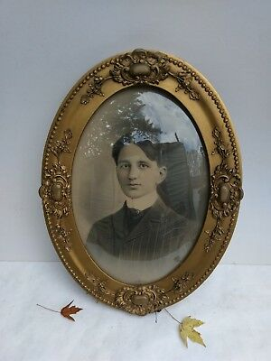 Antique Gesso Oval French Frame Ornate Floral 1870s bubble glass large vintage
