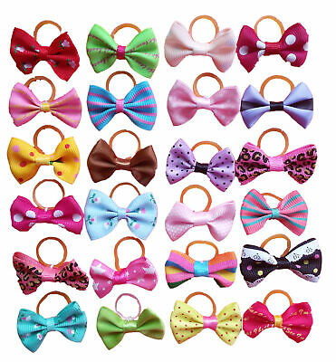 20Pc Pet Puppy Hair Bows Rubber Bands Small Dog Cat  Bowknots Grooming Accessory
