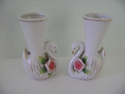 "Lot of 2 Small Swan Vases - 3-1/4"" Tall - Made in Japan"
