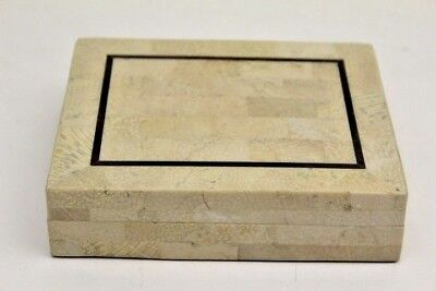 Vintage Maitland Smith Tessellated Stone & Brass Inlaid Dresser Box ~