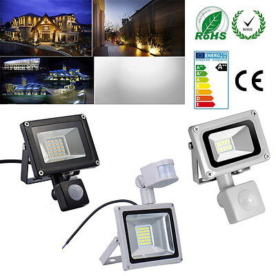 10/20/30W LED Flood Light PIR Motion Sensor Outdoor Spotlight Waterproof Lamp