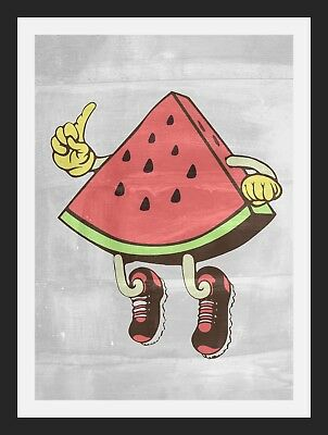 Watermelon Slice Man Pop Art A3 Wall Poster Print Rare - Limited Edition Of 100