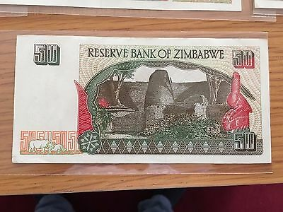 1 X ZIMBABWE $50 Banknote Uncirculated not trillion series