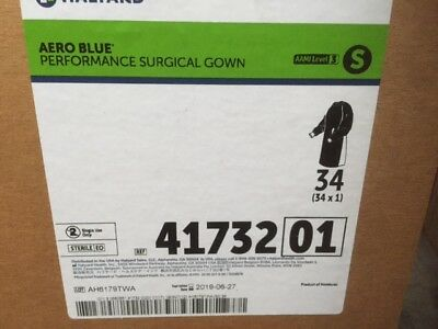 (Case of 34) Halyard 41732 Aero Blue Performance Surgical Gown Small (NEW)