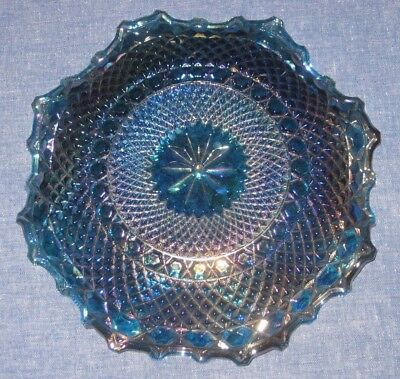 Carnival Glass Fluted Edge Dish Iridescent Blue Indiana Harvest Grapes 11 in.