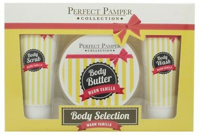 Perfect Pamper Warm Vanilla Gift Set 100Ml Body Scrub + 220Ml Body Butter + 100M