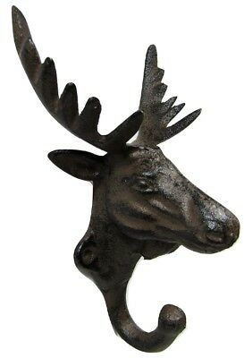 New Antique-Style Rustic 3-D ELK COAT HOOK Cast Iron Cabin Wall Mount Hardware