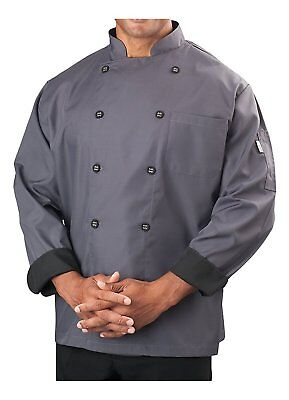 Mens Long Sleeve Active Chef Coat, Slate with Black Accent, L