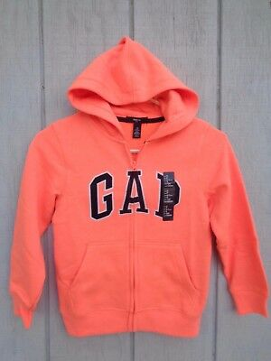 NEW Gap Kids Orange Hoodie Boys Girls Hooded Zip  Size S 6 - 7 6-7 Yrs Arch Logo