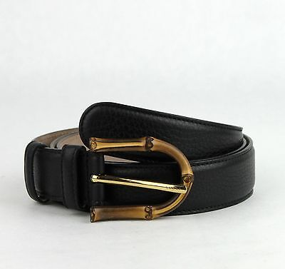 ecdb0b29a $480 New Gucci Women's Black Leather Belt with Bamboo Buckle 90/36 322954  1000