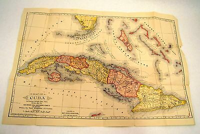 Antique 1897 MAP OF CUBA Mast Crowell & Kirkpatrick PRICE BY MAIL POSTPAID 25 C