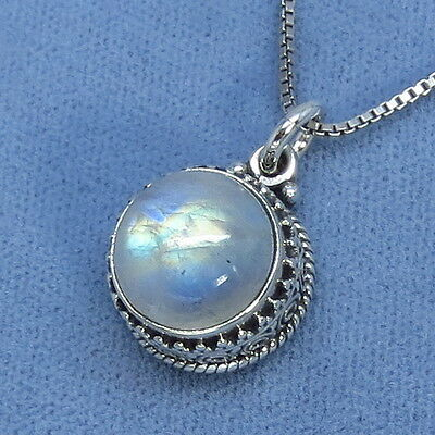 Rainbow Moonstone Victorian Antique Style Necklace Sterling Silver Fancy-Dancy