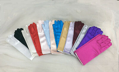 Satin Children Glove Girls 0-3,4-7,8-12,13-16 Years. Pick Your Size And Color !