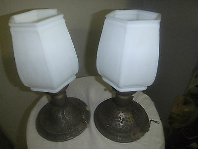 Pair of Antique Flush Mount Ceiling Lamps - Etched Glass Shades - Hammered Look