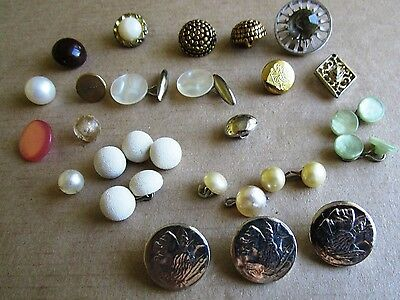 Mixed Lot of Vintage Ornate Buttons , 3 Nickel Heads