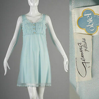 S Vintage 1960s 60s Deadstock Babydoll Nightly Baby Blue Night Gown Lingerie