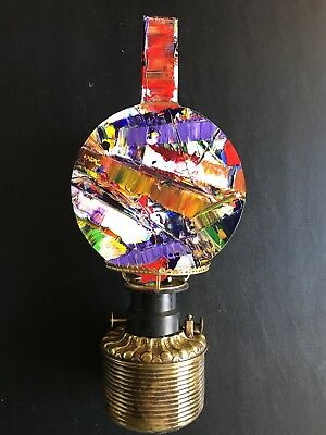 Steampunk/ Victorian Oil Lamp Art 1880s font with abstract art globe nice brass