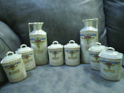 German Lustreware Kitchen Spice Set Pearl