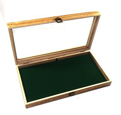 Oak Stained Wood Glass Top Green Pad Display Box Case Pins Medals Jewelry Knife
