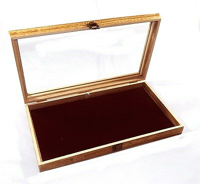 Oak Stained Wood Glass Top Burgundy Pad Display Box Case Medals Jewelry Knife