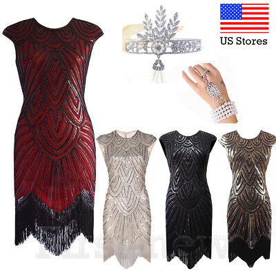 1920s Flapper Dress Great Gatsby Costume Cocktail Evening Sequin Vintage Dresses