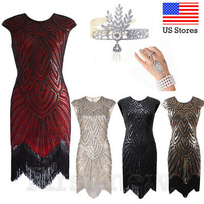 a776d7446bb0 1920s Flapper Dress Great Gatsby Evening Dresses Cocktail Sequin Vintage  Costume