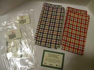 Longaberger 2 Napkin Sets-New-Cherry Red Plaid and Blueberry Plaid