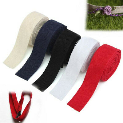 2M Herringbone Twill Cotton Webbing Tape Strap 20mm For Sewing Bunting DIY Carft
