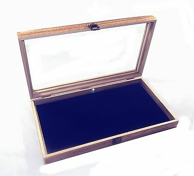 6 Oak Stained Wood Glass Top Blue Pad Display Box Case Pins Medals Jewelry Knife