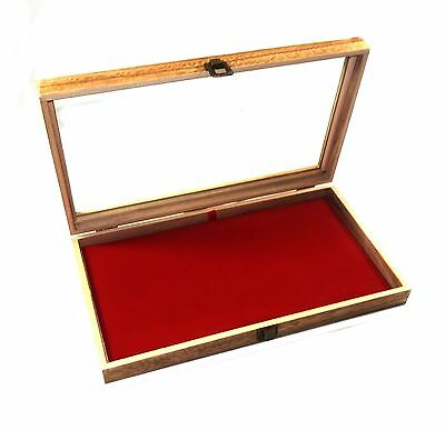 2 Oak Stained Wood Glass Top Red Pad Display Box Case Medals Jewelry Knife