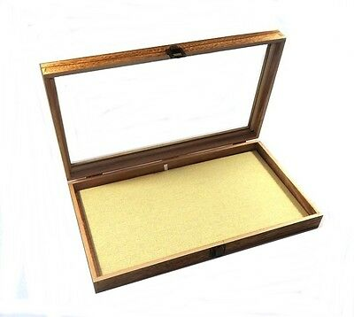 Oak Stained Wood Glass Top Linen Pad Display Box Case Medals Jewelry Knife