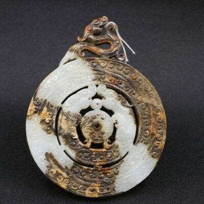 Chinese Exquisite Hand-carved beast carving Hetian jade statue / Pendant