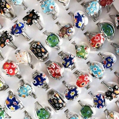 Wholesale 10pcs Lots Mixed Color Natural Stone Tibet Silver Vintage Ring Jewelry
