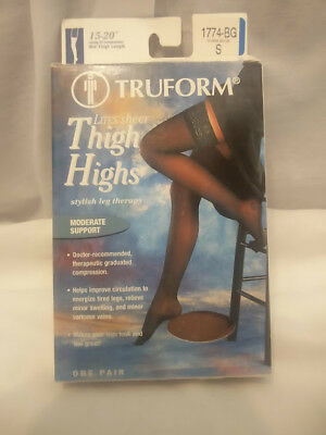 Truform 15-20 Mid-Thigh Compression Socks, Lites Sheer, Warm Beige Small 1774-BG