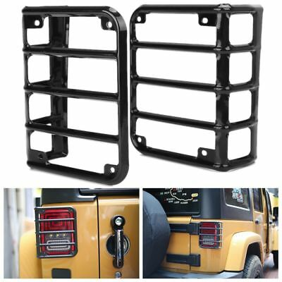 2PCS  Steel Light Guard Rear Tail Lights Cover for Jeep Wrangler JK CJ TJ 07-17