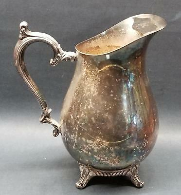 "Wm Rogers Silverplate 9"" Ice Lip Water Pitcher Jug Footed Vintage Worn Vase"