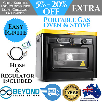 Outdoor Portable Gas Oven Camping Cooking LPG 3 Burner Stove Stainless Steel AGA