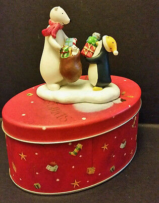 "Polar Bear & Penguin Figurine in Tin ""A Winters Joy"" for Russ by Jan Pashley"