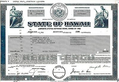 State of Hawaii, 9,75% Airports System Bond, Series 1983 (10.000 $)