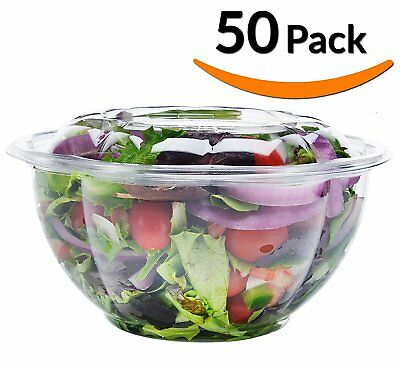 DOBI Salad To-Go Containers, 32oz, 50 Pack - Clear Plastic Disposable Salad with
