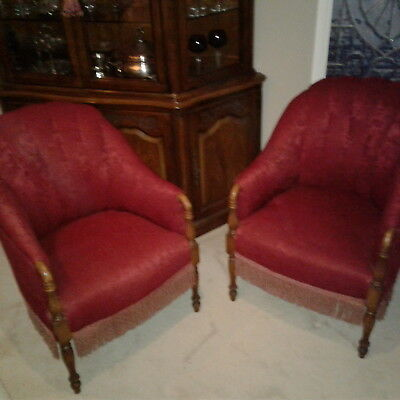 Pair of Real Antique Chairs refurbished with original wood Home Deco