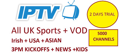 3 Days Trial IPTV Subscription Warranty (UK Ch + VOD) MAG, Android, SmartTV, M3U