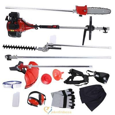 52cc 5 in 1 Garden Hedge Trimmer Petrol Strimmer Chainsaw Brushcutter Multi Tool