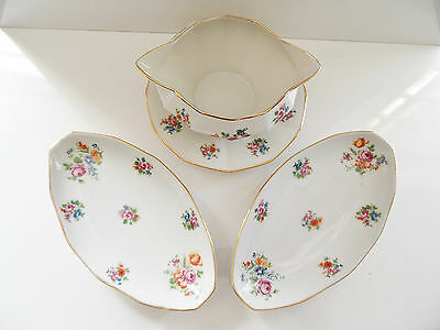 Ancienne Sauciere/saucier Double Bec + Ravier Porcelaine Made In France Art Deco