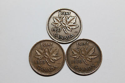 1937, 38, & 39 Canadian cents