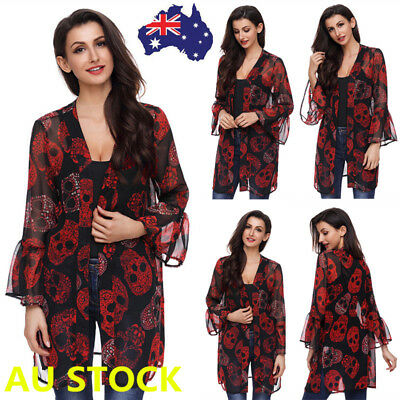 Women Long Flared Sleeve Skull Print Kimono Chiffon Cardigan Beach Cover Up Tops