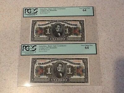 1917 COSTA RICA 1 COLON 2 CONSECUTIVE NOTES PCGS VERY CHOICE NEW 64 #S121r