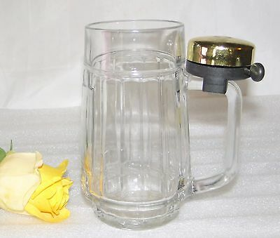 "Austrian Beer Stein Heavy Glass Mug With Clover Ringer Bell 6"" X 4 1/2"" Vguc"